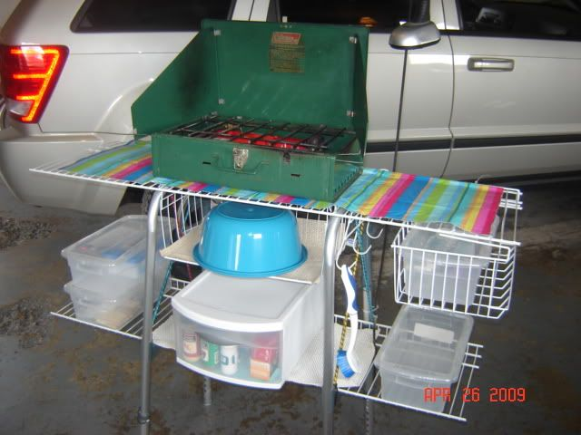 Camping Organization Ideas Using A Walker And Wire Closet Shelving For Campsite Kitchen Rugged Life