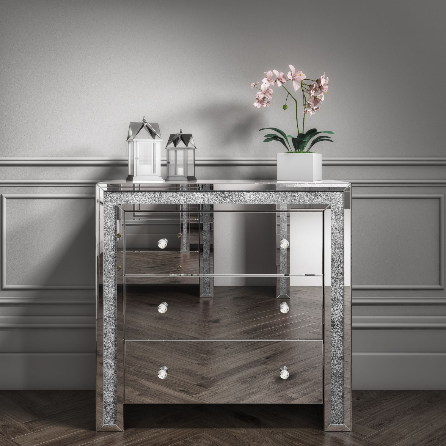 Mirrored Chest of Drawers with Crushed Diamond Effect in