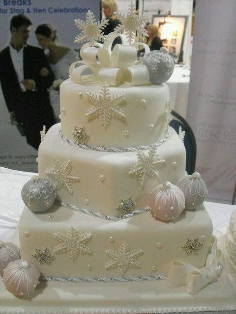 Christmas Wedding Cake Quot Bow Baubles Frosty Snowflakes Bling