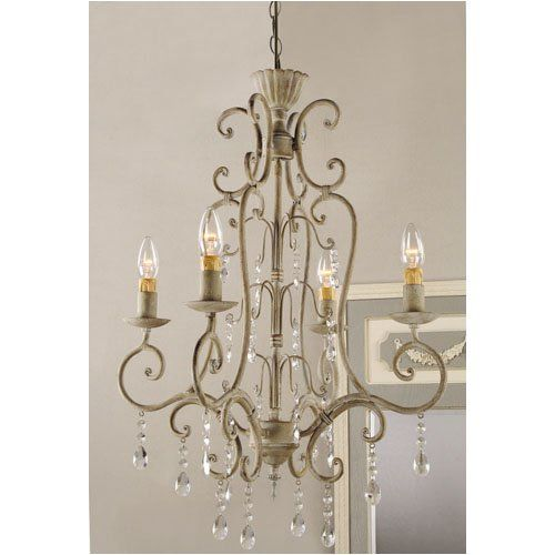 Shabby Vintage Metal Crystal CHANDELIER Electric Antique FRENCH COUNTRY Chic 42 NEW