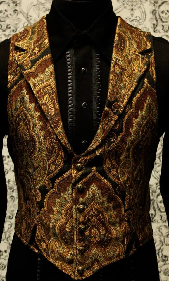 Men's Costume Victorian Steampunk Style Brown Wool Blend Double Breasted Fitted Waistcoat With Brown Paisley Satin Back And Lining Size XXXL TeIvTH1Zj