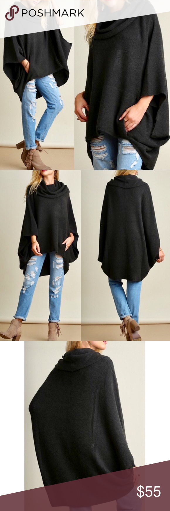 KAYCEE poncho style sweater - D. CHARCOAL Super fun & comfy cowl ...