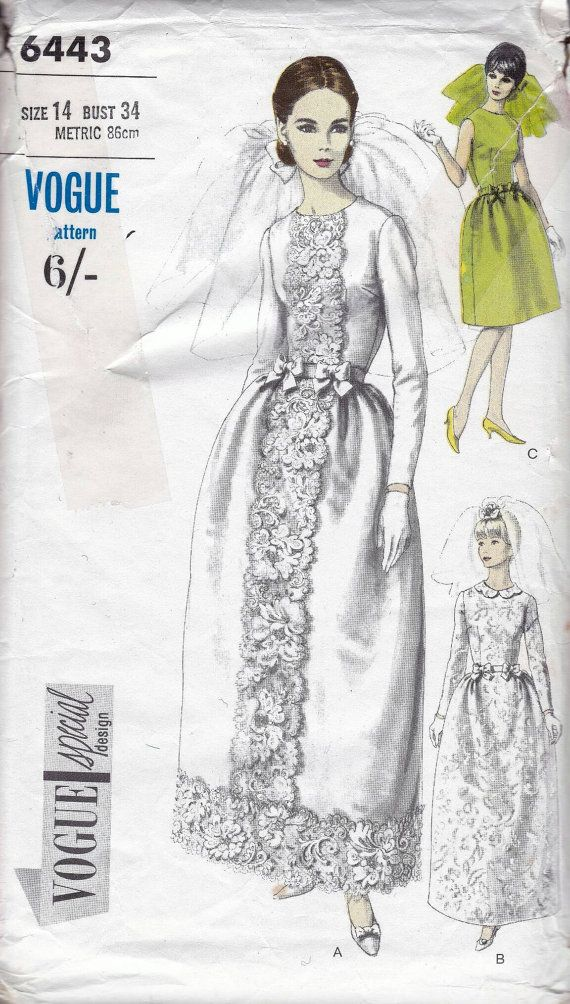 60s Vogue special design bridal sewing pattern 6443, wedding dress ...
