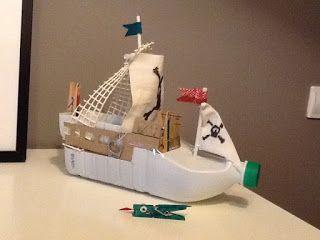 Barco Pirata Con Material Reciclado Cosas De Mamas Y Peques Material Reciclado Para Ninos Reciclaje Con Ninos Reciclado Para Ninos
