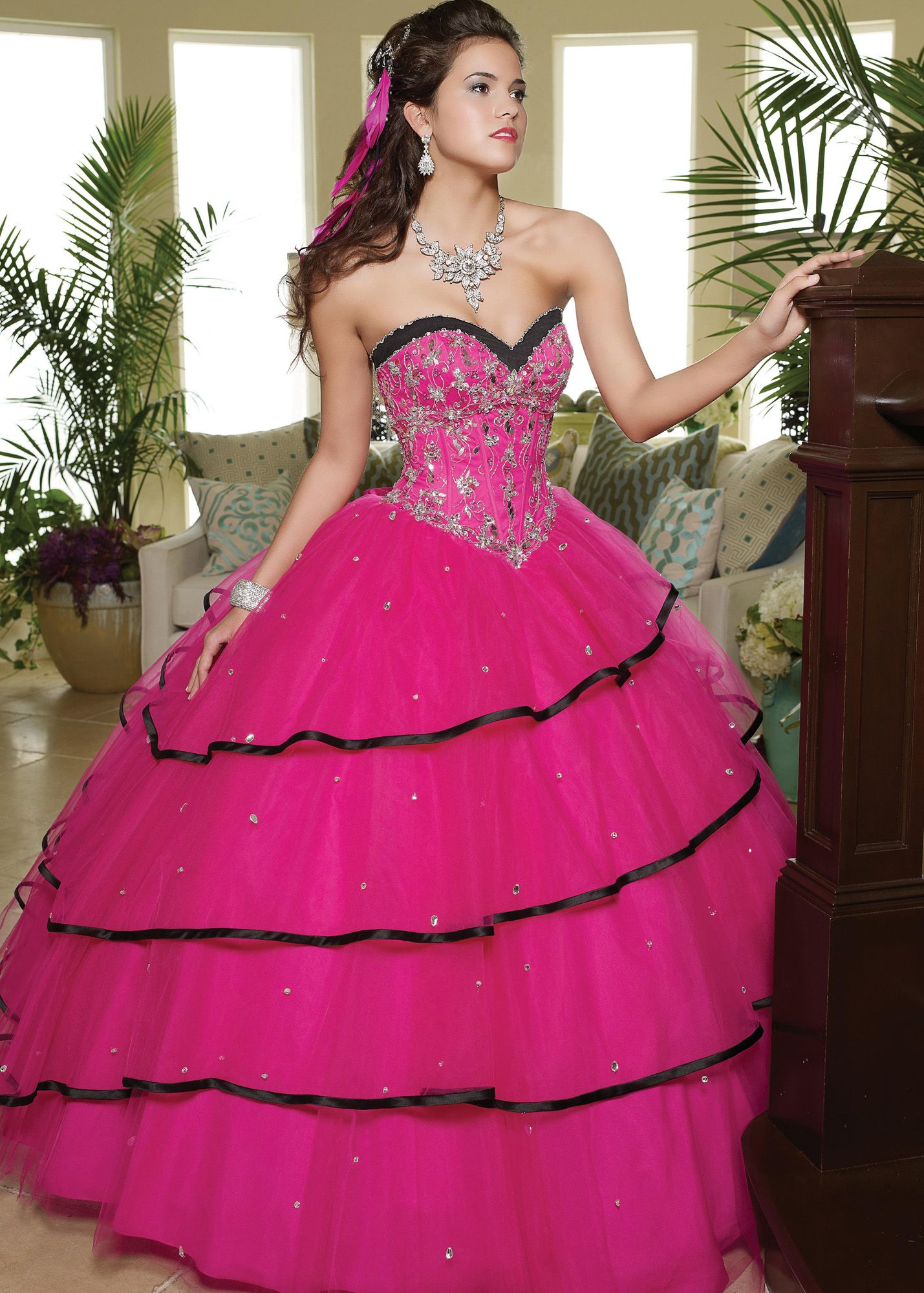 Free shipping on Vizcaya by Mori Lee 88026 pink and black strapless ...