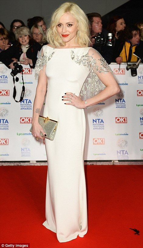 Fearne Cotton looked stylish in her bridalworthy cream gown with an embellished cape
