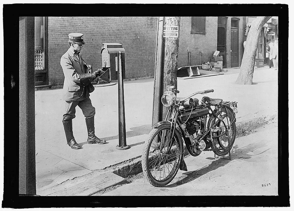 1915 POSTMAN AT LETTER BOX THE FLYING MERCKEL MOTORCYCLE USPS POST OFFICE PHOTO