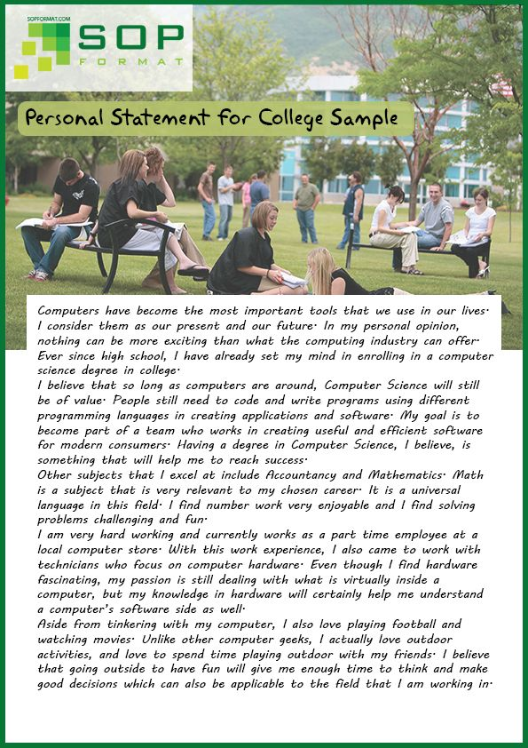 Creative Personal Statement Format For College  Creative Personal