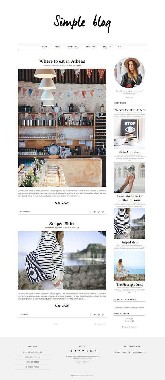 Responsive Fashion & Lifestyle Blogger Template \'Simple Blog ...
