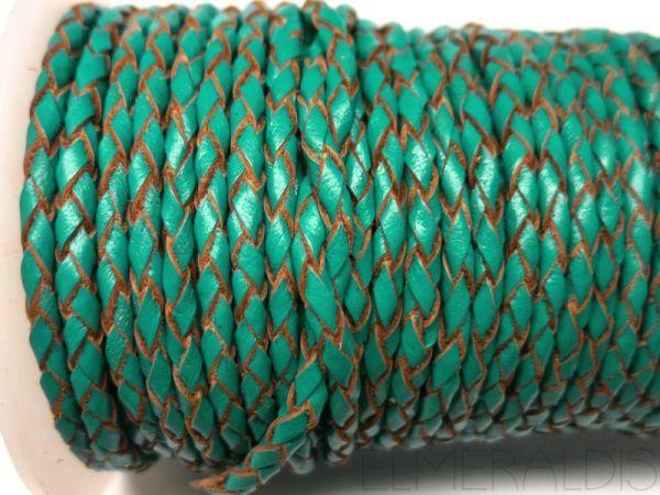 3 mm Lederband geflochten Sea Blue türkis 50 cm