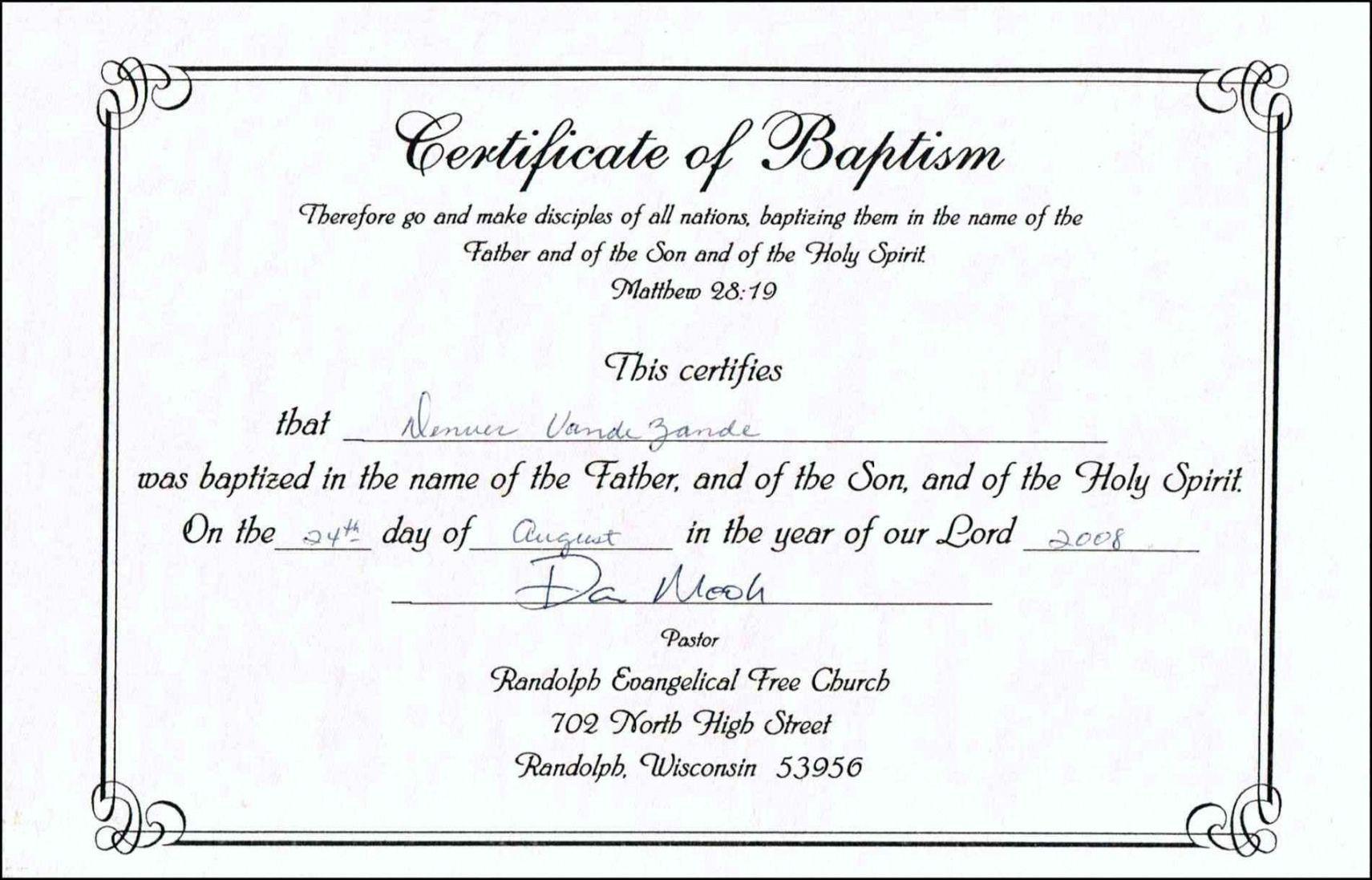Get Our Free Baptist Baptism Certificate Template Certificate Templates Baby Dedication Certificate Birth Certificate Template