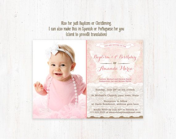 Angel Baptism invitations 1st Birthday Christening invitation