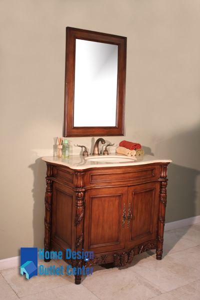 "HWM-005-CR 39"" Single Bathroom Vanity   Cream Marble"