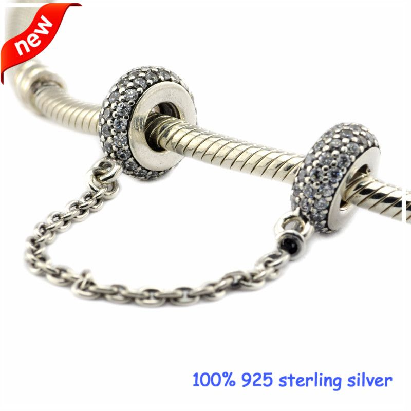 925 Sterling Silver Pave Inspiration Safety Chain Clear CZ Charm European Bead
