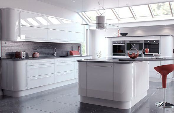 Best White High Gloss Kitchens With Grey Floor Vivo White 400 x 300