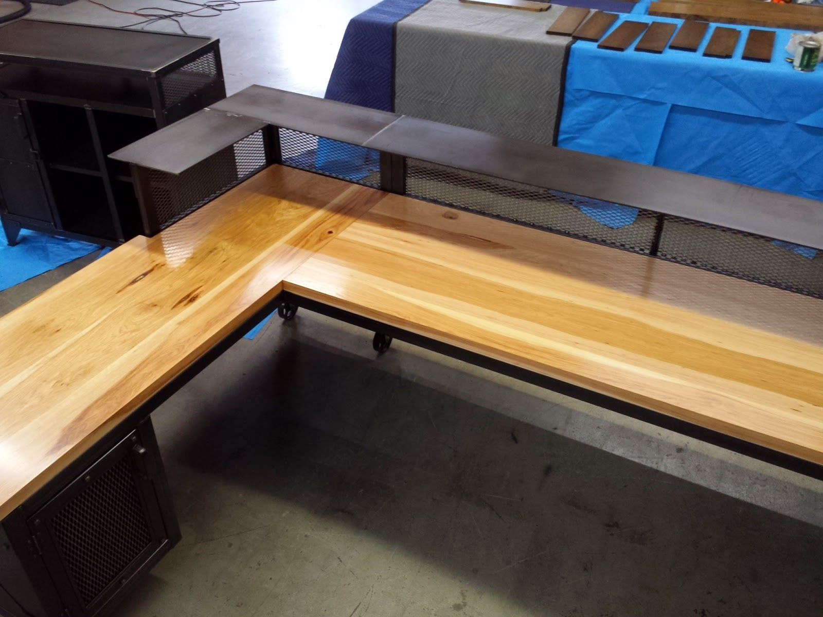This Is A Very Reception Desk For Gandy Ink In Texas About 10 Feet Long On One Side And 7 Short I Put 1 5 Inch Thick Hickor