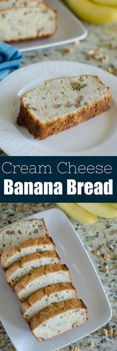 Cream Cheese Banana Bread - moist and delicious banana bread with walnuts. #friendsgivingfood