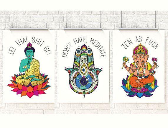 Let that Shit Go, Don\u0027t hate meditate, Buddha art, Ganesha, Zen as F