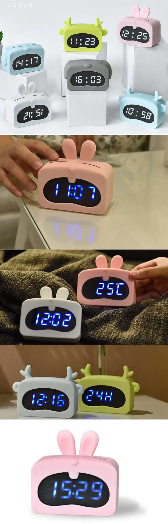 Usb Cartoon Led Led Night Light Digital Alarm Clock