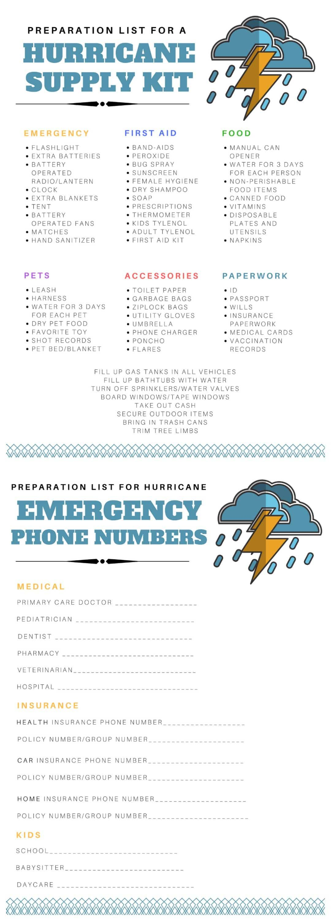Hurricane Preparation List