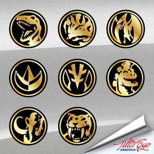 Power rangers coins vinyl decal mmpr choose your
