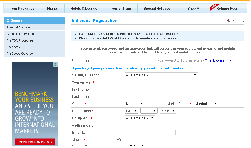 Irctc New Registration Form  Places To Visit