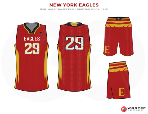 New York Eagles Red Yellow White And Black Basketball Uniforms Jersey And Shorts Jersey Design Basketball Uniforms Design Custom Sportswear