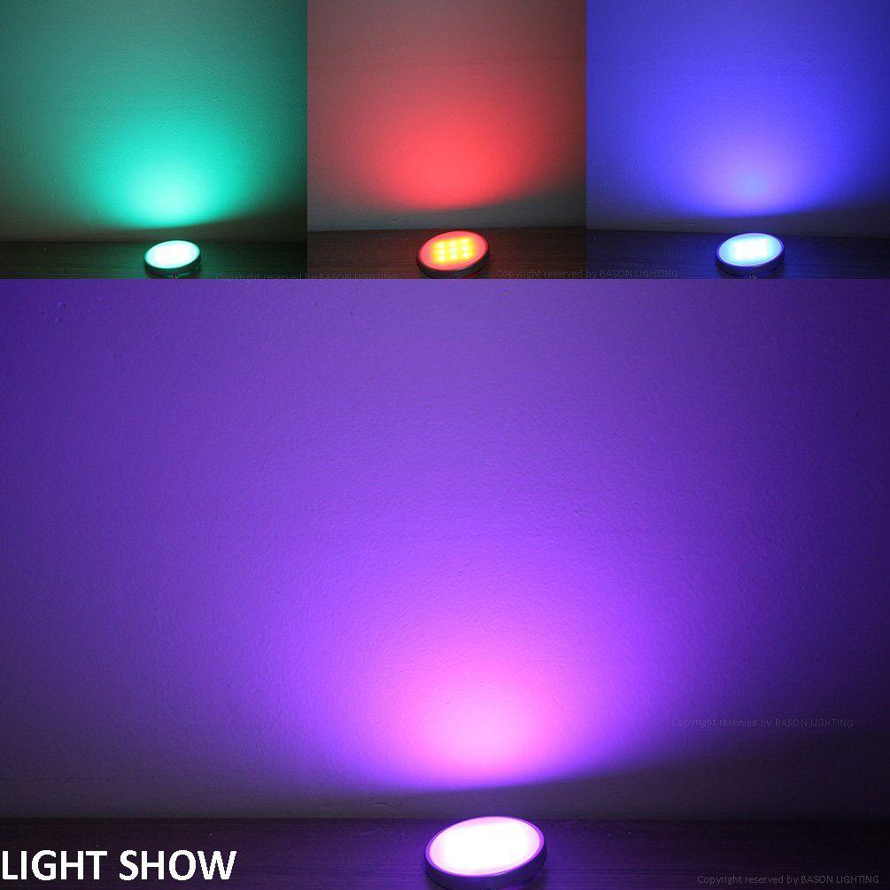 Bason Rgb Led Under Cabinet Lighting Closet Puck Lights Color Changing Kitchen Shelf Decoration 20 Colors Di Led Puck Lights Under Cabinet Lighting Puck Lights