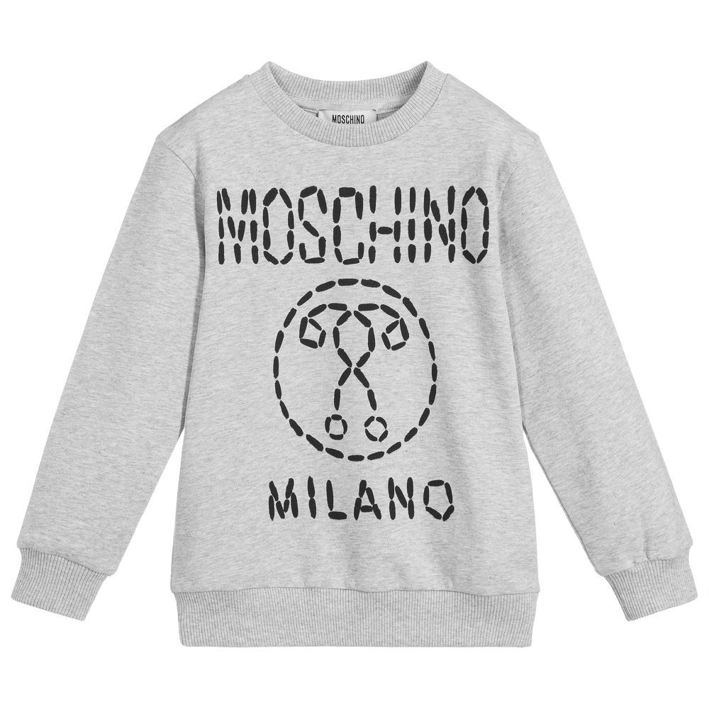 d77dcf67757af Boys grey marl Mini-me sweatshirt, by Moschino Kid-Teen. Made in soft and  stretchy cotton jersey, it has the designer's logo printed on the front in  black.