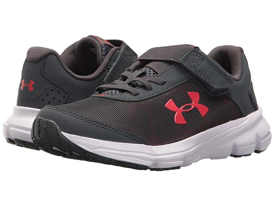 904c646c3b Under Armour Kids UA BPS Rave 2 AC (Little Kid) Boys Shoes Stealth Gray/Red