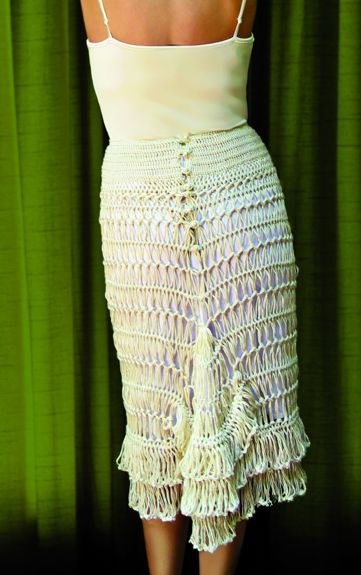 for-pay pattern - Hairpin Lace crochet bustle skirt by Stitch Diva (GORGEOUS!), from 100 Unique Crochet Skirts