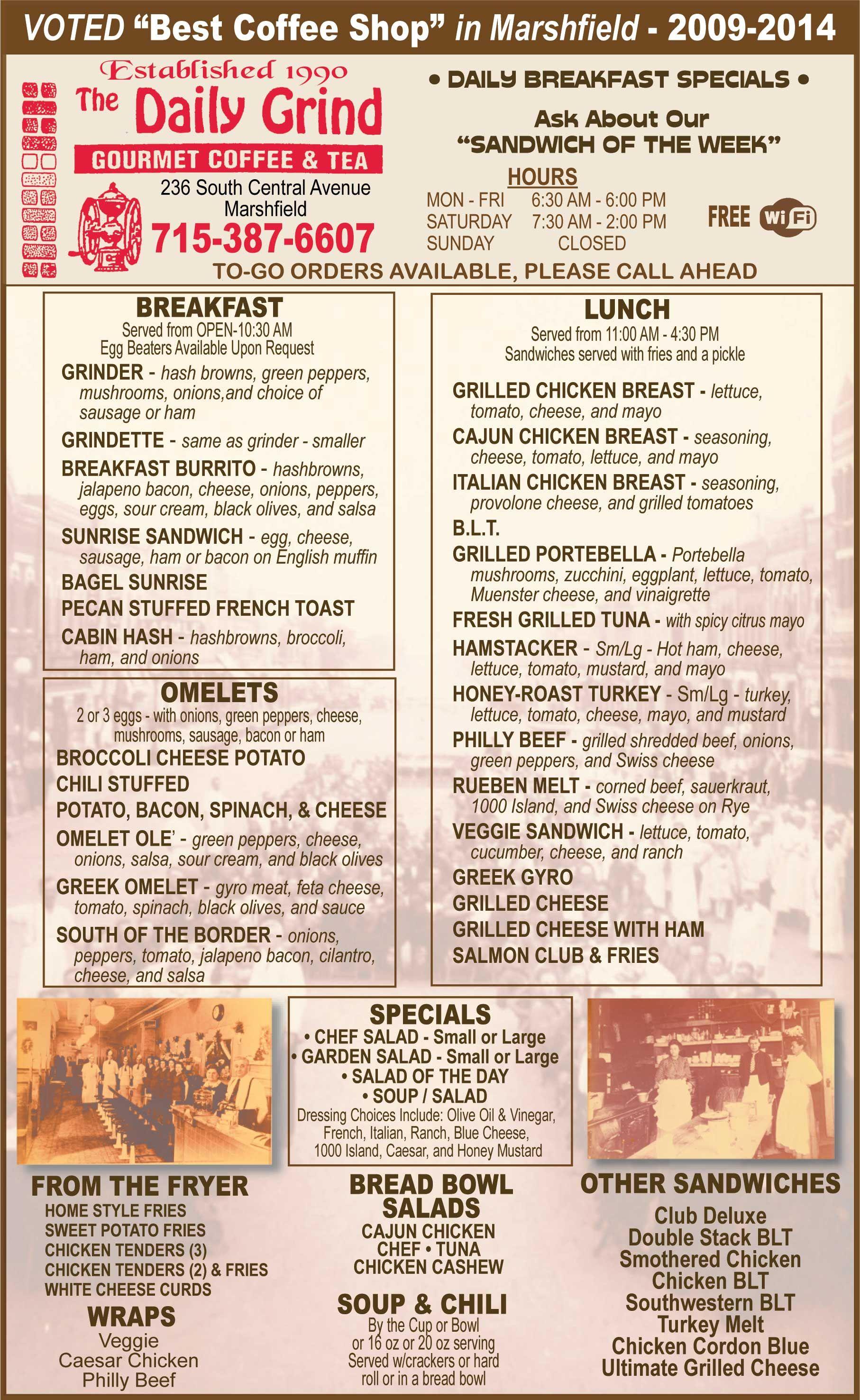 The Daily Grind Restaurant Menu Marshfield Wi 2015 16 Restaurants