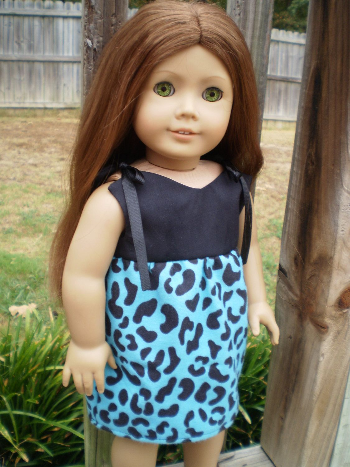 "American Girl Doll Dress, Blue & Black Animal print 18"" Doll Dress, American Girl Doll Clothes, Ready to Ship, Handmade Doll Clothes - pinned by pin4etsy.com"
