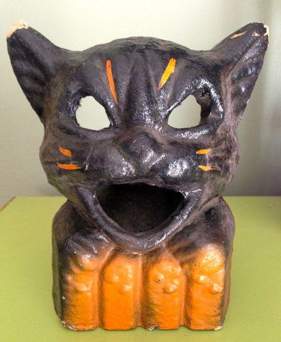 Vintage Halloween Black Cat on a Fence Paper Mache Lantern Candy - halloween decorations black cat
