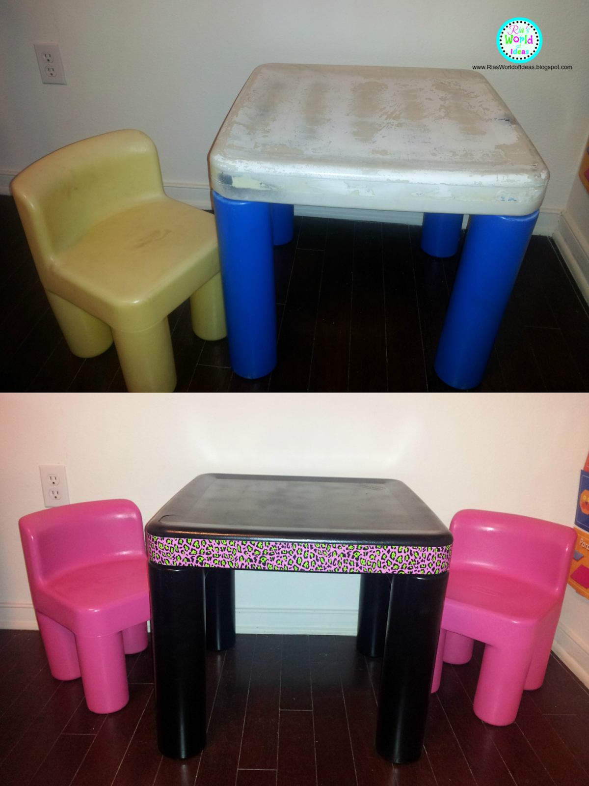 ugly plastic toddler desk turned cute [Just bought a Little