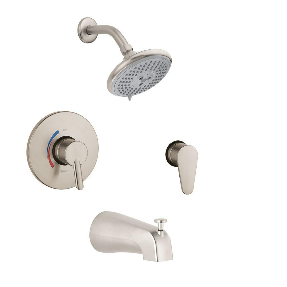 Hansgrohe Focus S Shower System Combo In Brushed Nickel (Valve Included)  Shower Arm,
