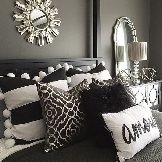 Black Grey White And Silver Bedroom Grey Walls Silver Accessories Black White Pillows Silver Bedroom White Bedroom Decor Black And Grey Bedroom
