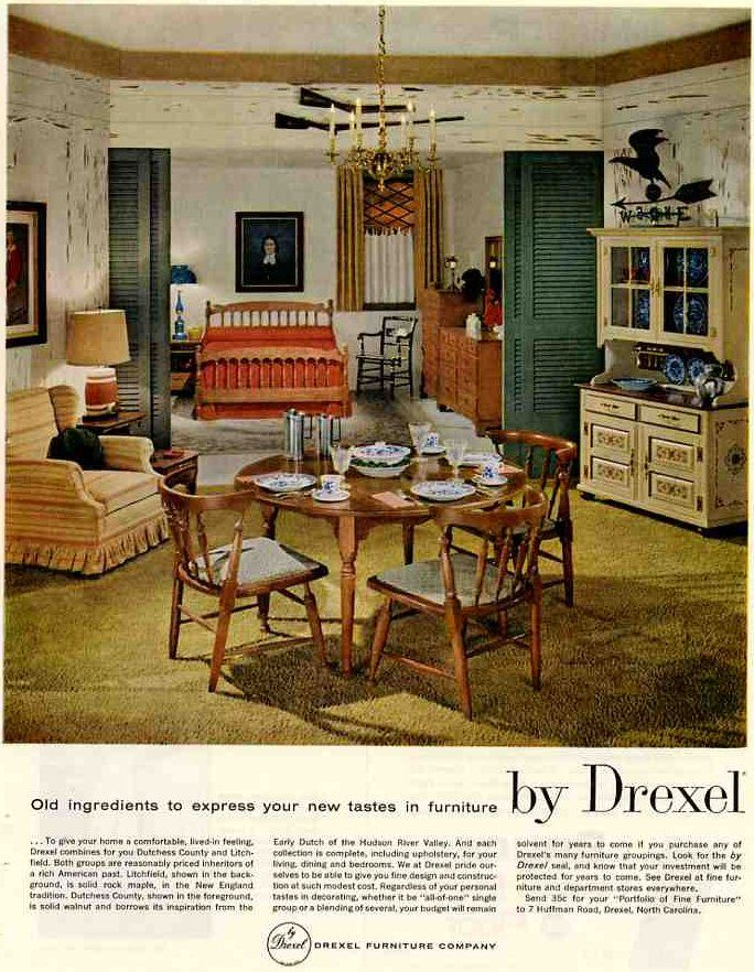 1959 Vintage Drexel Colonial Lives Even Heading Into The 60s Colonial Decor Drexel Furniture Maple Furniture