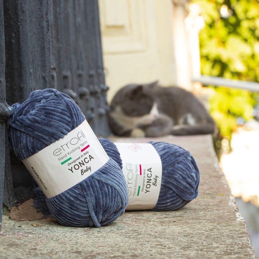 Etrofil Yonca Chenille yarn is a soft and cozy yarn which