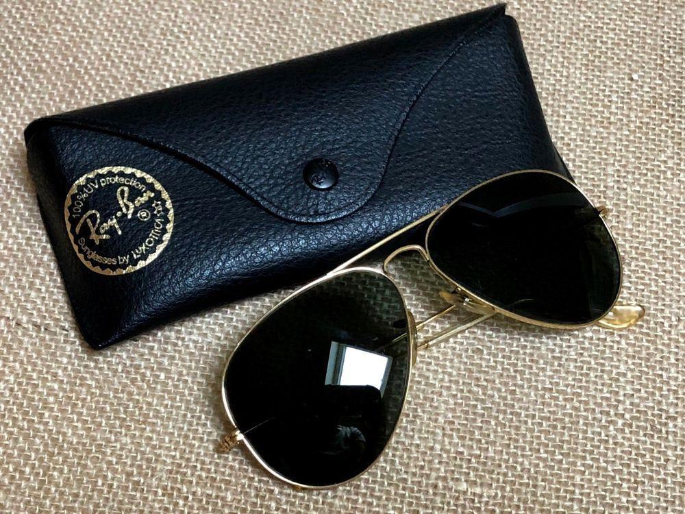 956b939aba Vintage Ray Ban B L 58  14 Aviator Sunglasses Gold Frame USA w New Case   RayBan