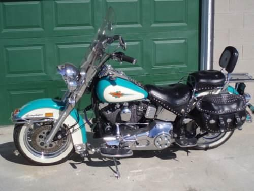 1992 Harley Davidson Flstc Heritage Softail Classic Turquoise Cream Carney Michigan 47988 Harley Davidson Bikes Harley Davidson Motorcycles Harley Davidson Dyna