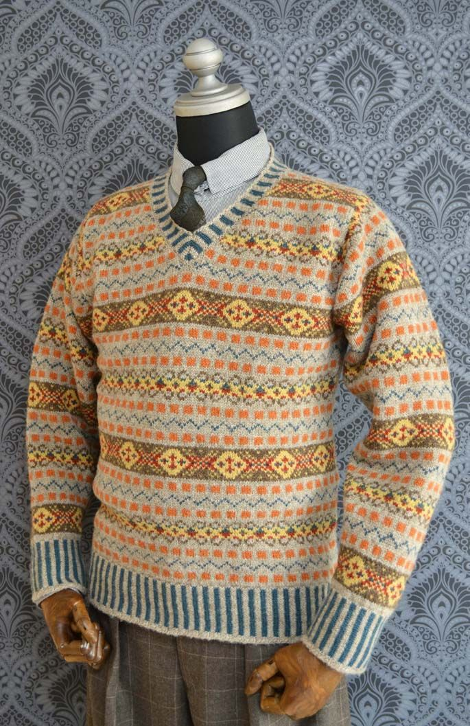PRINCE OF WALES TYPE FAIR ISLE V NECK | Cardigans For Men ...