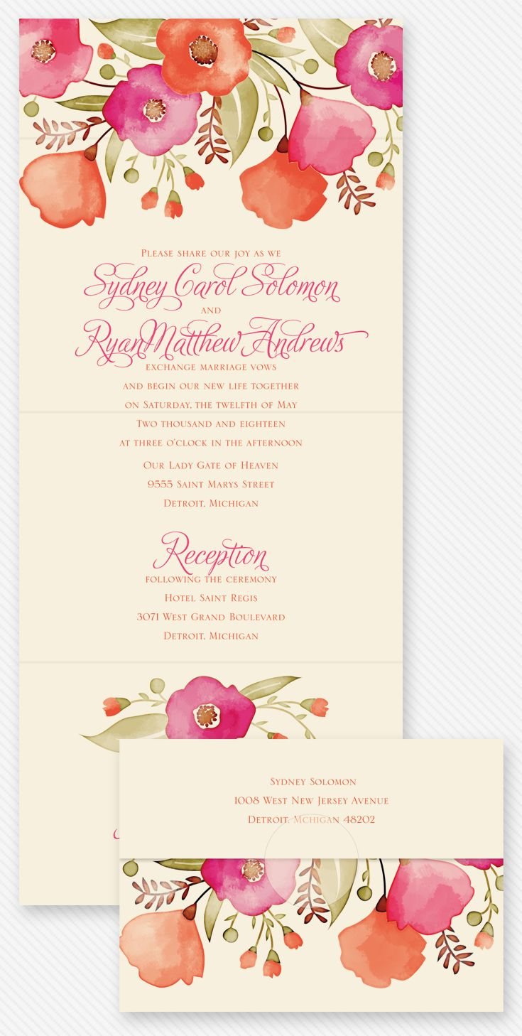 Pretty Posies - Seal and Send Invitation | Backdrops, Weddings and ...