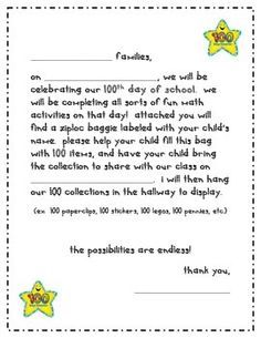 Grab Your Free Th Day Collection Letter To Send Home To Parents