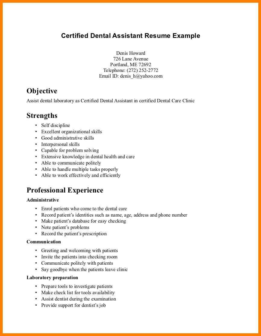 Image Result For Resume For Dental Assistant Entry Level Dental