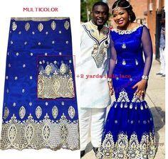 2 Mètres Pas Multicolore Africaine Dentelle Tissu Avec Cher George 6az0q