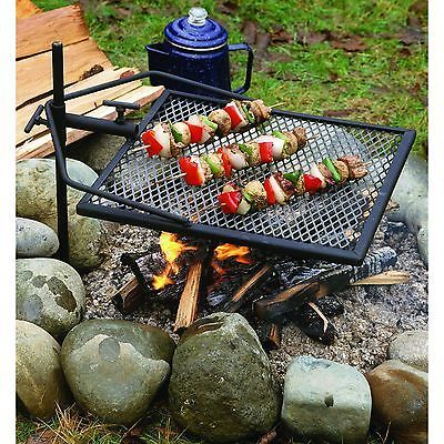 Portable Grill Adjustable Camping Equipment Campfire Cooking Grate Fire Pit  BBQ