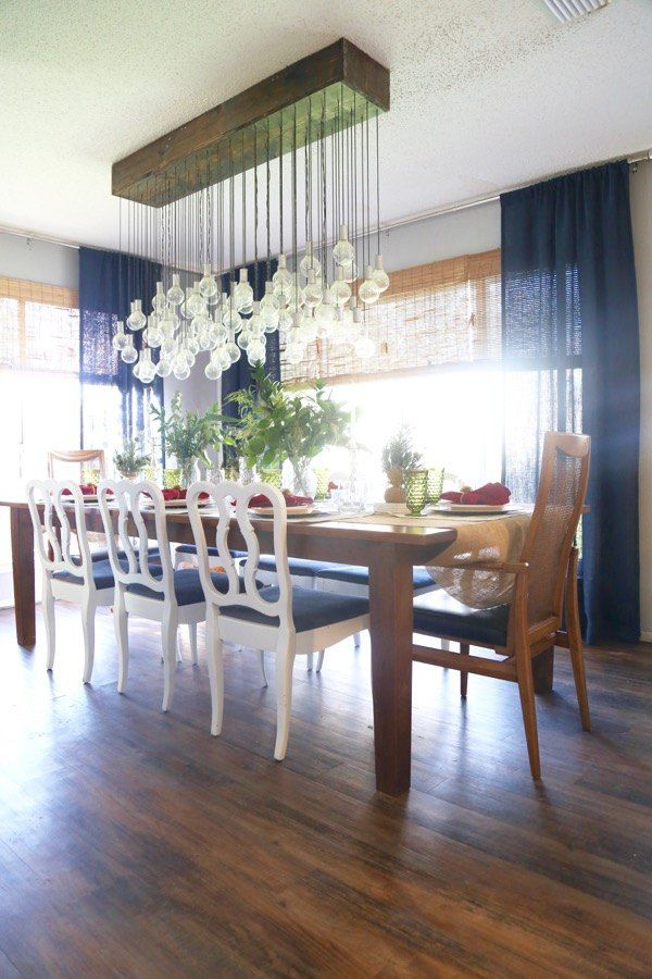 A couple ties 80 lights to a wood boxand look at her dining room a couple ties 80 lights to a wood boxand look at her dining room ceiling now diy chandelierchandelierswoodworking mozeypictures Choice Image