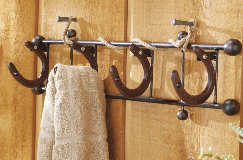 DIY Horseshoe Towel Rack, Horse Shoe Wall Hooks Hanger Cowboy Western  Bathroom Home Decor