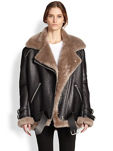 Acne Studios - Oversized Leather   Lamb Shearling Motorcycle Jacket -  Saks.com aa233efa7d6